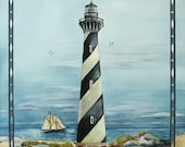Original Watercolor Painting Cape Hatteras Lighthouse