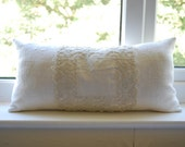 Antique French white linen doily pillow with kapok filling handmade