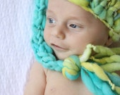 OOAK Newborn Long-Tail Stocking Hat - Dual-Tone Yellow Green Teal - Summer Collection