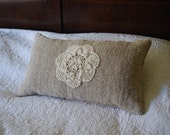 Antique oatmeal hemp and vintage doily pillow with kapok filling handmade