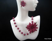 Cold Porcelain Beads, Floral Pin and Matching Earrings