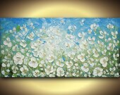 White Flowers Large Abstract Oil Painting ORIGINAL Contemporary Floral Palette Knife Impasto by Susanna 48x24