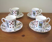 Vintage Staffordshire Playing Card Demitasse Cups - Set of 4