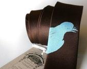 Bluebird silkscreened microfiber necktie, sky blue on skinny dark brown