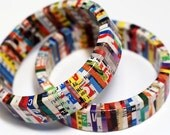 Recycled Magazine Eco Friendly Bangle Bracelet - Urban Jungle