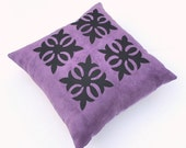 Purple and Black Ultra Suede Appliqued Pillow