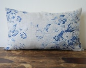 Shabby chic pillow floral blue and white roses linen cushion with kapok