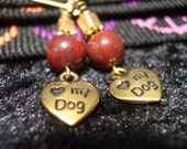 I love my dog gold and red earrings