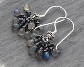 Storm, Labradorite Briolette Cluster Oxidised Sterling Silver Earrings