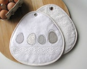 cottage kitchen the eggs nr.1 white cotton fabric pair of potholders handmade by redstitch on Etsy