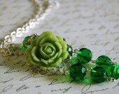 Asymmetrical Apple and Emerald Rose Necklace Buy 3 Get 1 Free
