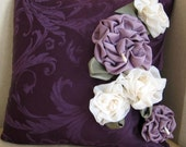 Damask Pillow Cover with Fabric Flowers You Can Re-arrange
