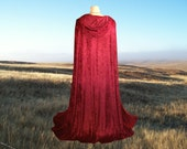 Garnet Red Velvet Hooded Cloak Cape Twilight Medieval Renaissance Vampire Halloween Costume