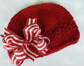 MINI Boutique Doubled Layered Hair Bow Clip and Crochet Beanie Cap------Red and White Stripes----CANDY CANE-------FITS 0-12 MONTHS