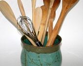 Cook Sale Kitchen Utensil Holder or Tool Crock Handmade Wheel Thrown Pottery