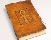 Ankh - the key of life. Handmade yellow leather journal