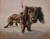 Dachshund on leash signed dog pet animal portrait painting print Donna Pellegata