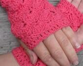Pink Autumn Cherry crochet cotton gloves