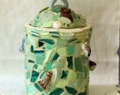 Green Mosaic Memory Jar with Animals