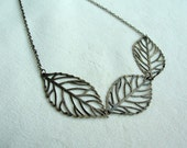 Antique Brass Leaf Trio Necklace
