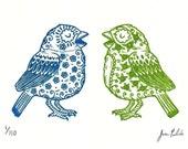 Sugar Skull Birds Limited Edition Gocco Serigraph