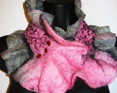 Nuno Felted scarf/neckwarmer wool,silk