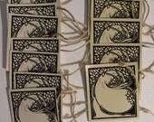Peacock Art Nouveau Tags