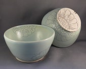 Two sunflower blue bowls