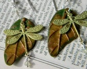 Dragonflies and Prehnite with polymer clay leaf earrings