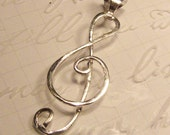 Sterling Silver Treble Clef Pendant and Sterling Silver Chain