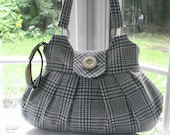 NEW..La Pouffe Gorgeous Shoulder Bag. Medum Grey Glen Check Lightweight Wool       READY TO GO