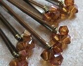 Chocolate Swarovski Crystal Hair Pins (set of 6 wedding bobby pins)