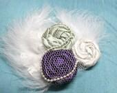 Mimi- Antique Garden vintage  rosette headband or clip
