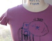 Oh Snap camera tee hand dyed and printed choose your size and color