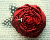 Fall Harvest Rich Red Rosette with Woodland Feather Accent Hair Clip