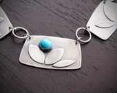 Bouquet necklace - Sleeping Beauty Turquoise and recycled sterling silver rectangular pendant