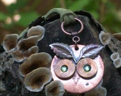Handmade Upcycled Repurposed Hardware Owl Pendant Copper Icy Mint Green Eyes