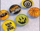 Halloween Magnets - Images Under Glass Gems - Set of 6 - Great for your fridge or bulletin board