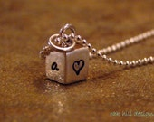 personalized stamped cube necklace-sterling silver custom jewelry-silver cube