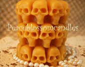 Pure Beeswax Candle Embellished Skull Pillar