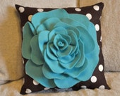 Turquoise Rose on Brown with White Polka Dot Pillow