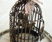Unique And Whimsical  Bird Cage Necklace