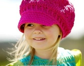 12 to 24 Month Newsgirl Hat - hot pink, natural cotton, photo prop