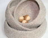 Three Large Nesting Bowls - Wool Felted - Oatmeal Color