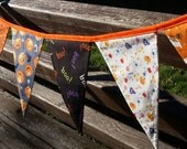 Halloween Orange Black Pumpkin Ghost Party Banner Bunting