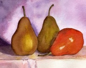 Watercolor Still Life with Pears Original 5 x 7 matted