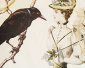 The Raven's Story - The Black Feathered Hat - One Blank Victorian Collage Card