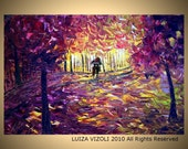 PURPLE RAIN Original Modern Abstract Palette Knife Oil Painting Park Romance Autumn Trees on Large Canvas by Luiza Vizoli 36x24