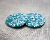 Leaf Buttons / Teal Turquoise / Medium One Pair (Two)