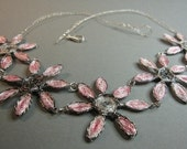 Wire wrapped flower necklace, pink and grey